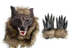 Scary Latex Wolf Head Mask Werewolf Face & Werewolf Hands Halloween Costumes