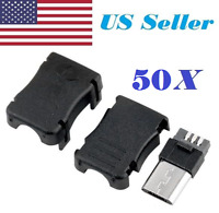 50pcs Micro USB 5 Pin T Port Male Plug Socket Connector and Plastic Covers DIY