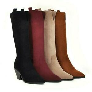 Womens Pointy Toe Mid Cuban Heel Pull On Knee High Boots Gothic Shoes Lady 2021