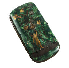 Continental Bakelite Glasses Spectacle Case Mixed Metal Gold Silver Inlay 19th C