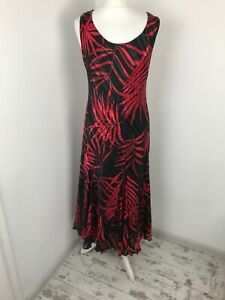 Roman Black Red Palm Fit Flare Sleeveless Maxi Long A Line Dress Gold Thread 16