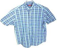 Austin Reed London Mens Blue Linen blend Plaid short sleeve sports shirt XXL