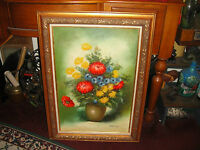 Original Floral Oil Painting On Canvas Signed Ornate Wood Frame Flowers In Vase