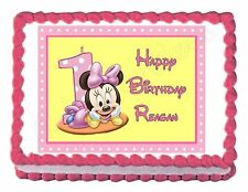 MINNIE MOUSE1ST BIRTHDAY party edible cake image decoration frosting sheet