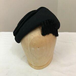 United Hatters Cap /& Millinery Wrks cocktail vintage 1960s black raffia pillbox hat garden party union made brunch hat veil
