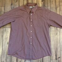 LL Bean Men's L Traditional Fit Button Down Shirt Top Burgundy beige white Plaid