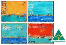 4 x COASTERS - AUSTRALIAN MADE SOUVENIR - OCEAN ABSTRACTS, BEACH, SUNSHINE