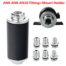 High Flow Aluminum Racing Fuel Filter 100 Micron Cleanable AN6 AN8 AN10 Fitting