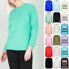 Womens Ladies Round Neck Long Sleeve Oversized Chunky Cable Knitted Jumper Top
