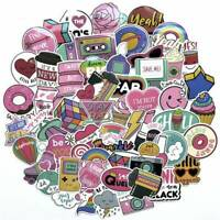 60Pcs/Pack Cute Anime Pink Stickers Decals Skateboard Car Laptop Luggage Vinyls