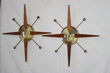 Pair Teak Metal Mid Century Modern Starburst Atomic Sputnik Wall Candleholders