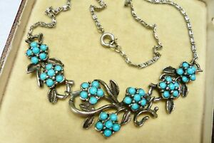 VINTAGE JEWELLERY FAUX TURQUOISE FLOWER NECKLACE PRETTY