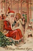 Santa Claus in Snowy Forest with Angel~Children ~PFB Christmas Postcard---s585