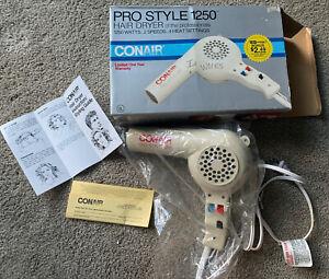 Vintage Pro Style 1250 CONAIR Hair Blow Dryer Model 185W UNUSED, NEW OLD STOCK