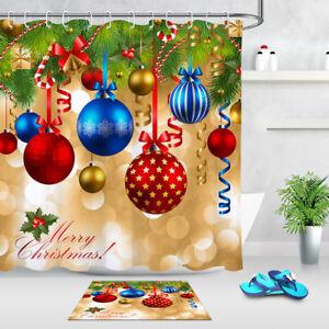 "Colorful Christmas Ball Shower Curtain Bathroom Waterproof Fabric & Hooks 72*72"""