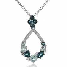 Topaz Sterling Silver Blue Fine Necklaces & Pendants