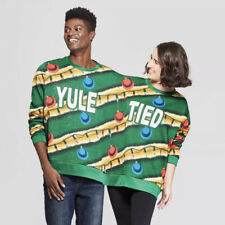 Mad Engine Ugly Christmas Holiday Long Sleeve Yule Tied Two-Person Green Sweater