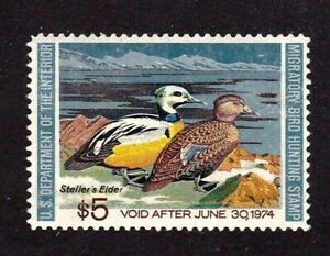 United States Federal Duck Stamp # RW 40, MNHOG, XF 1974