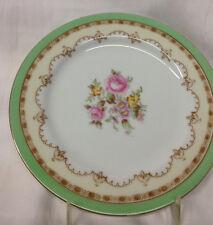 "NORITAKE JAPAN N1799 SALAD PLATE 7 5/8"" PINK ROSES FLOWERS TAN ARCS GREEN BAND"