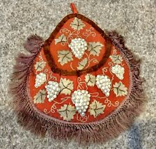 Antique Beadwork Wall Pocket Very Large 16in deep Grape Design With Glass Pearls