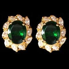 Brass Stud Earrings Oval Cut CZ Stone Green Emerald 18K Yellow Gold Plated