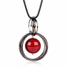 Fashion Circle Red Pearl Pendant Statement Long Chain Sweater Necklace Jewelry H