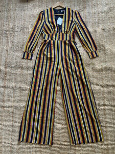 Glamorous Striped Plunge Tea Jumpsuit with Pockets, 70s Style, Size 12 BNWT