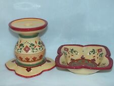 PartyLite Bohemian Spice 2-Piece Pillar / Taper Holder ~ Excellent Pre-Owned ~