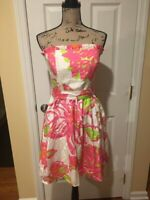Lilly Pulitzer Strapless Dress Multi Color Size 6 Silk Blend