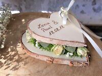 Hochzeit Ringkissen Ringhalter Herz Mille Fleurs gestapelt mix mit Namen