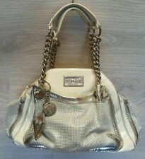 VERSACE Ivory Silver Patent Leather Medusa Gold Chain Tote Shoulder Bag
