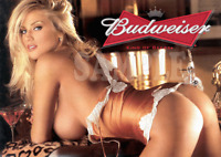 Fridge Magnet Sexy Budweiser doggy style blonde playmate busty pin-up girl art
