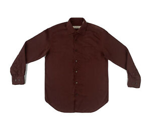 Tommy Bahama Silk Wool Shirt Men's Small Long Sleeve Maroon Red Button Down
