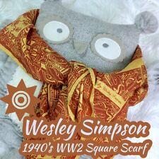 Vintage 1940s Ww2-Post Ww2 Era Wesley Simpson Art Scarf Aztec Print 100% Silk