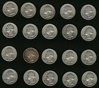 Lot of 20 US Washington Silver Quarters Coins Years 1946, 1947, 1948, 1950, 1951