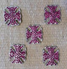 5-1.5 Cross Conchos PINK Bling for Headstall Saddle spurs Chaps Saddle Pad Craft