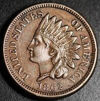 1862 INDIAN HEAD CENT - With LIBERTY & Near 4 DIAMONDS - AU UNC Details