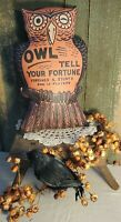 PRIMITIVE VINTAGE FOLK ART OLD HALLOWEEN OWL 3D PILLOW BEISTLE DECORATION GAME