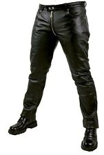 MEN'S LEATHER PANTS WITH CROTCH ZIPPER CUSTOMIZED 100% GENUINE LEATHER FETISH!!