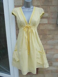Ladies womens yellow spotted summer 100% cotton casual dress beach size 10