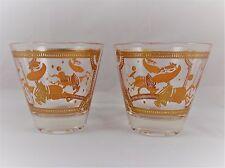 Vintage Fred Press Rocks Glasses Orange Horse Set of 2