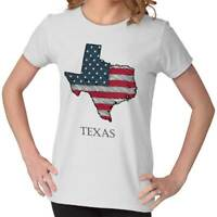Texas State Pride American Flag USA Patriotic Gift Ideas Cool Womens T-Shirt