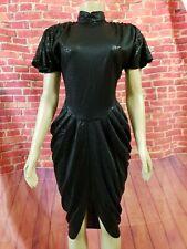Vintage 80s Dq Sophisticates Polyester Black Women's Dress Choker Collar Sz 5/6