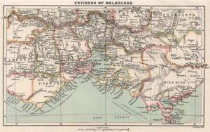 Environs of Melbourne. Victoria, Australia. BARTHOLOMEW 1886 old antique map