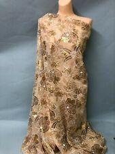 New listing Silk Chiffon Taupe Floral fabric on Beige Background (Env Au21)