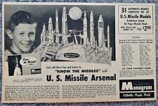 Vintage 1958 Monogram Us Missile Arsenal Model Advertisement