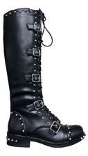 women military boot black studs buckle knee high combat boot