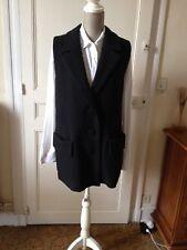 BEL AIR : Très Beau manteau noir ,sans manches ,100% laine ,tout neuf +étiq T:40