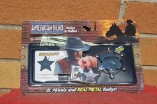 AMERICAN HERO SHERIFF WALLET I.D. and REAL METAL TOY BADGE NEW