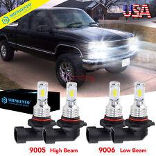 Fit 94-98 Chevy C/K Pickup Silverado Suburban Tahoe 9005+9006 LED Headlight Bulb